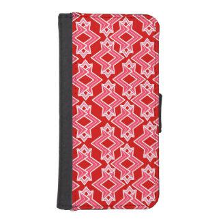 アールデコの壁紙パターン、えんじ色およびピンク iPhoneSE/5/5sウォレットケース