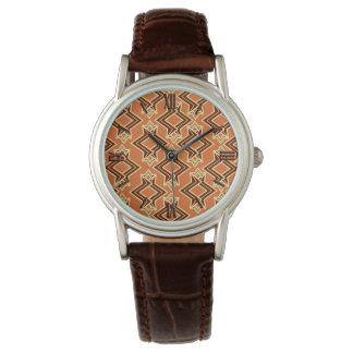 アールデコの壁紙パターン、テラコッタ/錆 腕時計