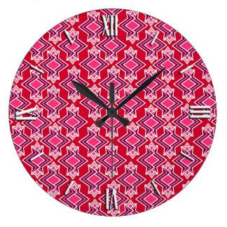 アールデコの壁紙パターン、バーガンディのワイン ラージ壁時計