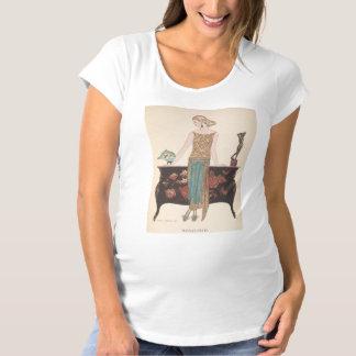 アールデコの女性-テーブルの側に立ちます マタニティTシャツ
