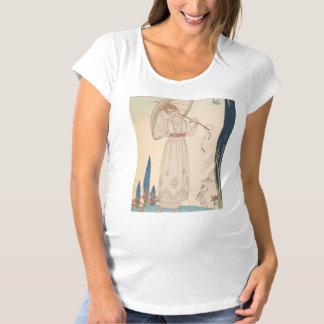 アールデコの女性-傘によって立ちます マタニティTシャツ