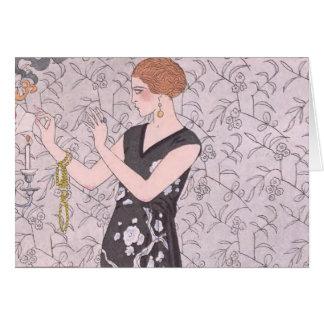 アールデコの女性-燃焼ペーパー カード