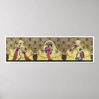 アールデコの日本のな女性および孔雀 ポスター