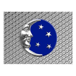 アールデコの月および星-コバルトブルーおよび銀 ポストカード
