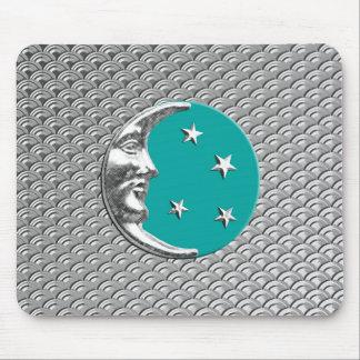 アールデコの月および星-ターコイズ及び銀 マウスパッド