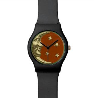 アールデコの月および星-錆ブラウンおよび金ゴールド 腕時計