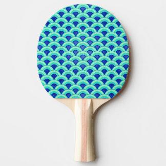 アールデコの波パターン-ターコイズおよびコバルト 卓球ラケット