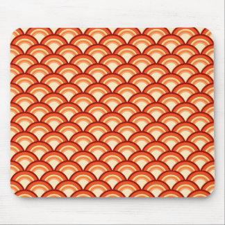 アールデコの波パターン-蜜柑のオレンジ マウスパッド