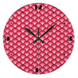 アールデコの波パターン-赤および明るい赤紫色 ラージ壁時計