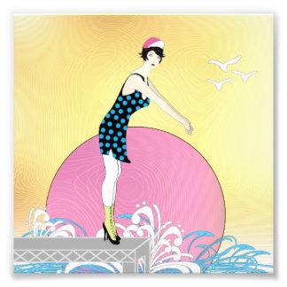 アールデコの甘い泳ぐ人の女性 フォトプリント