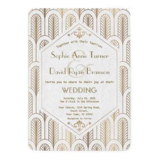 アールデコの素晴らしいGatsbyのホワイトゴールドの結婚 カード