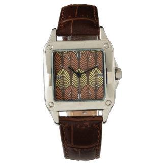アールデコの羽パターン、焦茶および錆 腕時計