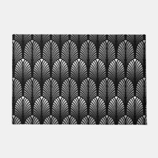 アールデコの羽パターン、銀製灰色および黒 ドアマット