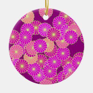 アールデコの花模様-すみれ色の色合い、珊瑚 陶器製丸型オーナメント