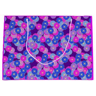 アールデコの花模様-バイオレット、青および紫色 ラージペーパーバッグ