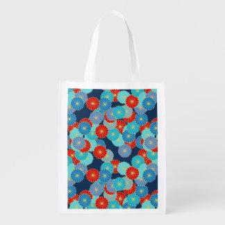 アールデコの花模様-青、ターコイズおよび赤 エコバッグ
