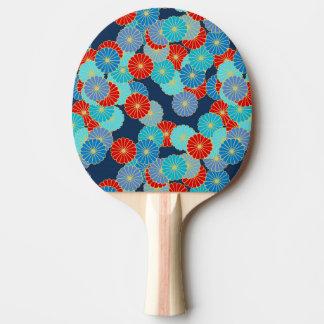 アールデコの花模様-青、ターコイズおよび赤 卓球ラケット