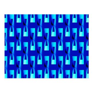 アールデコの金属幾何学的-コバルトブルー ポストカード