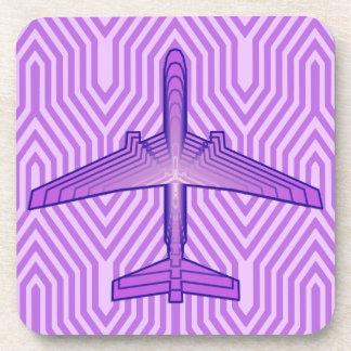 アールデコの飛行機、すみれ色の紫色およびラベンダー コースター