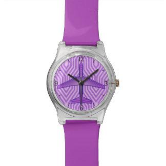 アールデコの飛行機、すみれ色の紫色およびラベンダー 腕時計