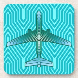 アールデコの飛行機、ターコイズ、ティール(緑がかった色)および水 コースター