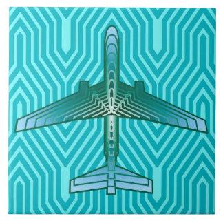アールデコの飛行機、ターコイズ、ティール(緑がかった色)および水 タイル