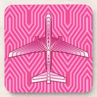 アールデコの飛行機、明るい赤紫色およびパステル調ピンク コースター