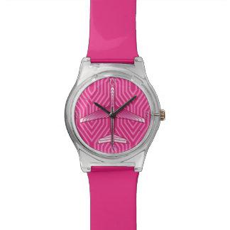 アールデコの飛行機、明るい赤紫色およびパステル調ピンク 腕時計