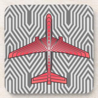 アールデコの飛行機、珊瑚のオレンジおよび銀製灰色 コースター