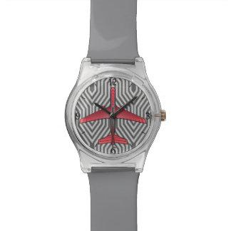 アールデコの飛行機、珊瑚のオレンジおよび銀製灰色 腕時計