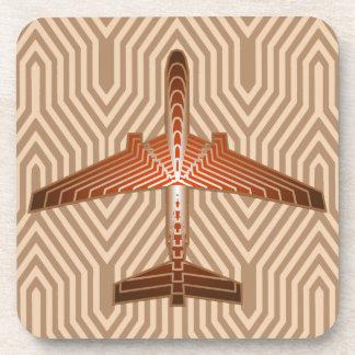 アールデコの飛行機、青銅、金ゴールドおよび錆ブラウン コースター