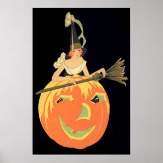 アールデコの魔法使いのハロウィーンのカボチャのちょうちんのカボチャほうき ポスター