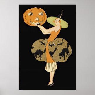 アールデコの魔法使いのハロウィーンのカボチャのちょうちんのカボチャ黒猫 ポスター