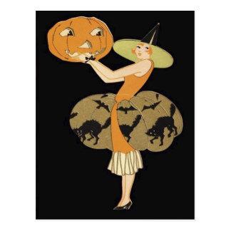 アールデコの魔法使いのハロウィーンのカボチャのちょうちんのカボチャ黒猫 ポストカード