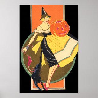 アールデコの魔法使いのハロウィーンのカボチャのちょうちんのカボチャ ポスター