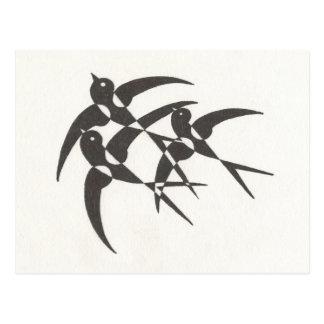 アールデコの鳥の郵便はがき ポストカード