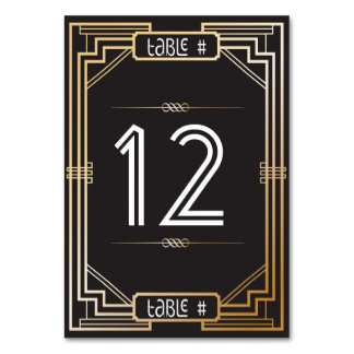Art Deco Black and Gold Gatsby Table Number