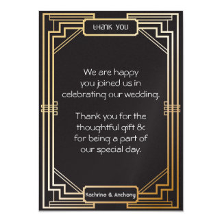 Art Deco Black and Gold Gatsby Thank You