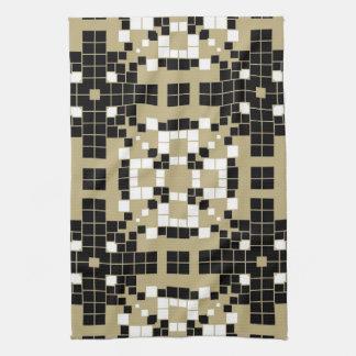 アールデコの黒、白いレトロの抽象美術 キッチンタオル