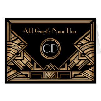 アールデコのGatsbyの金ベージュ結婚式の座席表 カード