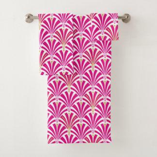 アールデコファンパターン、明るい赤紫色のピンク バスタオルセット