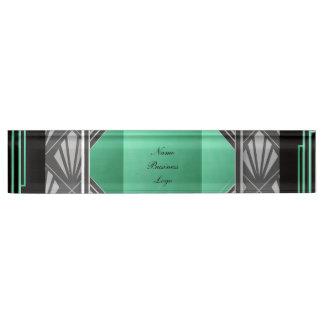 アールデコ幾何学的なフレームのミントの緑の灰色の黒 デスクネームプレート