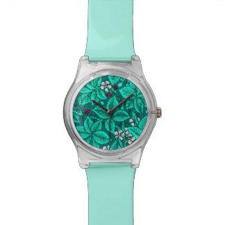 アールヌーボーのいちごおよび葉のターコイズ 腕時計