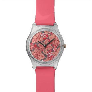 アールヌーボーのいちごおよび葉の珊瑚のオレンジ 腕時計