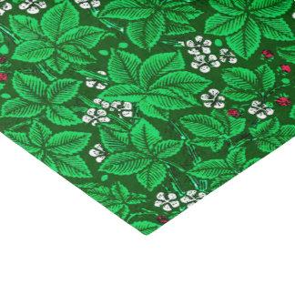 アールヌーボーのいちごおよび葉、エメラルドグリーン 薄葉紙