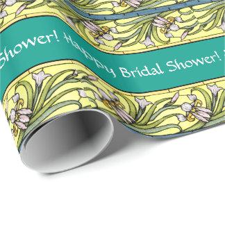 アールヌーボーのアイリス花柄の花のブライダルシャワー ラッピングペーパー