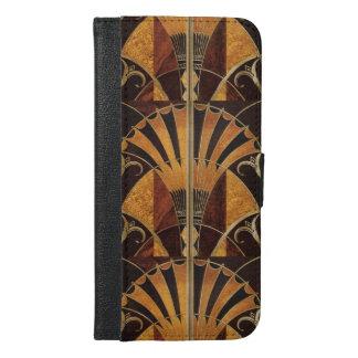 アールヌーボーのアール・デコ、ヴィンテージ、数々のな木製色、 iPhone 6/6S PLUS ウォレットケース