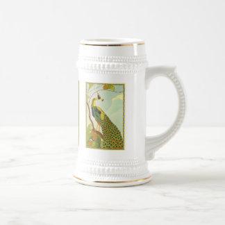 アールヌーボーのウィーンの孔雀 ビールジョッキ