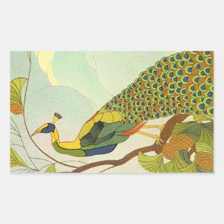 アールヌーボーのウィーンの孔雀 長方形シール