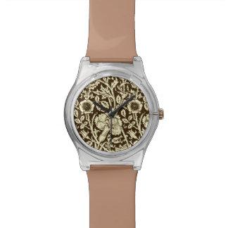 アールヌーボーのカーネーションのダマスク織、ブラウンおよびクリーム 腕時計